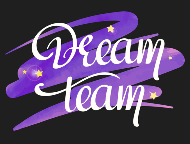 dream team handwritten text royalty free vector image